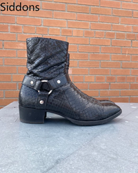 Bottines d'hiver hommes chaussures avec cuir Pu Vintage classique mâle botte décontracté Zapatos De Hombre chaussures De mode hommes D63