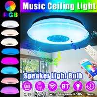 60W LED luz de techo a todo Color con bluetooth música altavoz hogar RGB regulable música moderna lámpara de techo APP Control remoto