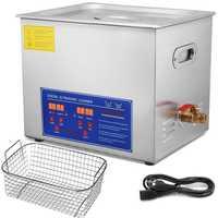 Limpiador ultrasónico de calefacción industrial de 10 litros, equipo de limpieza con temporizador Digital