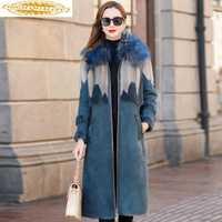 Abrigo de piel de doble cara de lujo 2019 chaqueta de invierno para mujer abrigo de piel de lana Natural chaqueta de cuero genuino de piel de visón para mujer mi