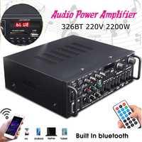 Bluetooth 2.0 canal 2000W Audio puissance HiFi amplificateur 326BT 12 V/220 V AV ampli haut-parleur avec télécommande pour voiture maison