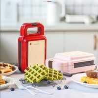 600W máquina eléctrica para hacer gofres, máquina para hacer bocadillos, máquina para hacer gofres, tostadora para pasteles, máquina para hornear 220V