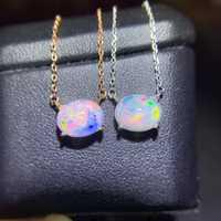 ¡Nuevo estilo! Collar de piedras preciosas de ópalo para mujer, joyería real 925 chapada en oro y plata, Gema natural colorida para chica, regalo de piedra natal