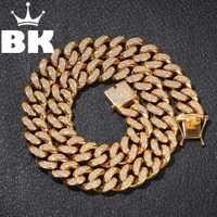 20mm Acero inoxidable Cuba frenar cadena Hip Hop Punk pesado chapado en oro plata cubano collar