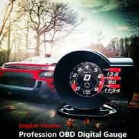 Profession magicien OBD tête haute affichage voiture numérique Boost jauge tension compteur de vitesse ect. Outil de Diagnostic automatique d'alarme de température de l'eau