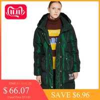 Toyouth duvet de canard femmes manteau d'hiver à capuche Abrigo Mujer Outwear Long manteau bouffant noir chaud veste épaississement manteaux grande taille