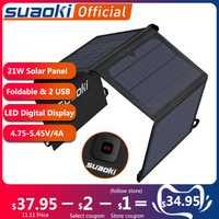 Suaoki 21W panneau solaire chargeur batterie pliable étanche soleil énergie affichage de LED double USB 5 V/4A sortie pour iPhone X 8 Huawei
