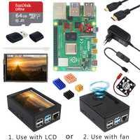 Raspberry Pi 4 modèle B + boîtier ABS + alimentation + carte SD 64 go + dissipateur thermique en option 3.5 pouces écran tactile | ventilateur | Micro HDMI pour RPI 4