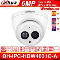 Dahua IPC-HDW4631C-A 6MP HD POE red Mini domo IP cámara de Metal micrófono incorporado CÁMARA DE CCTV 30M IR noche visión Dahua IK10