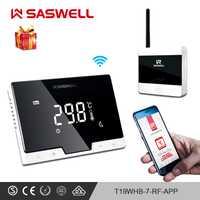 SASWELL WiFi Thermostat régulateur de température smartphone APP dos plat montage mural pièce sans fil programmable thermorégulatort