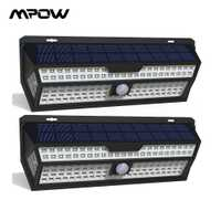 1/2 Pack Mpow 132 LED lumière solaire PIR capteur de mouvement applique murale blanc extérieur jardin lumière IP65 étanche pour décoration de jardin