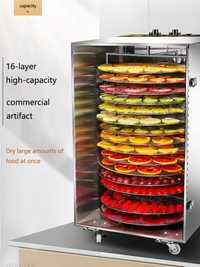 Secador de frutas rotativo comercial de 16 capas, caja de secado de frutas, té, salchichas, carne, deshidratación de alimentos, secador de aire, deshidratador de alimentos para el hogar