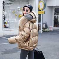 Fitaylor femmes Double face argent doré canard vers le bas manteau hiver grand vrai col de fourrure imperméable veste à capuche neige vêtements d'extérieur