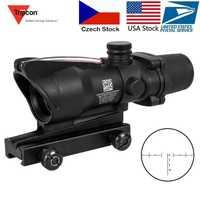 Lunette de chasse ACOG 4X32 vraie Fiber optique point rouge éclairé Chevron verre gravé réticule viseur optique tactique