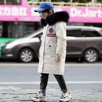 OLEKID 2019 enfants garçons veste d'hiver à capuche col de fourrure chaud longue doudoune pour adolescents 7-16 ans manteau d'extérieur pour enfants