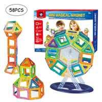 58 piezas Mini bloques de construcción ensamblados juguete educativo para niños niñas bloques magnéticos bloques de construcción juguetes para niños regalo