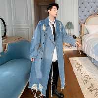 Hommes Vintage mode Streetwear Hip Hop lâche Long Denim coupe-vent veste mâle trou Punk gothique Jean Trench manteau pardessus