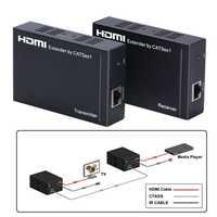 100M TCP/IP Hub Switch Router ethernet HDMI Extender sobre Cat5e/6/7 red RJ45 Cable 1080P repetidor de divisor HDMI IR pasar atrás