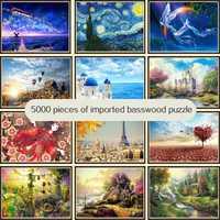 Haute difficulté grand adulte jouet éducatif décompression 5000 puzzles en bois décompression mondialement célèbre peinture paysage