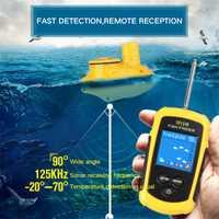 Rango de operación inalámbrico sensor de sonar portátil señuelo de pesca más profundo eco Sounder buscador de pesca color pantalla lcd para la pesca