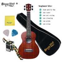 Ukulélé à vent fort 23 pouces Ukelele Concert guitare acoustique en palissandre Mini Hawaii Kits complets ukulélé guitare pour enfants débutants