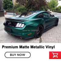Les matières premières haut de gamme enveloppent le Film d'emballage de vinyle métallique vert émeraude foncé métallique mat pour le vinyle de voiture libre de bulle d'autocollant de voiture