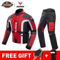 DUHAN automne hiver résistant au froid Moto veste Moto + protecteur Moto pantalon Moto costume Touring vêtements de protection ensemble