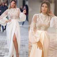 2019 vestido de noche árabe Alta Corte sirena mangas largas de campana de encaje elástico satén Sexy vestidos de fiesta de graduación hecho a medida para mujer vestido