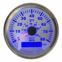 Paquete de 1 luz de fondo azul GPS velocímetros 85mm 0-80MPH GPS velocidad Odometers 0-130 km/h gráficos de velocidad con sensor para coche camión barco