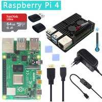 Kit d'origine officiel framboise Pi 4 modèle B double ventilateur boîtier en aluminium + carte SD 32 go + adaptateur d'alimentation interrupteur + Micro HDMI pour RPI 4
