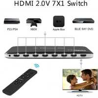 7X1 HDMI Switch HDMI 2,0 4K 60Hz, HDCP 2,2 3D HD convertidor de vídeo para Xbox One PS3 PS4 Smart TV Mi caja de la PC de la computadora a proyector de la TV