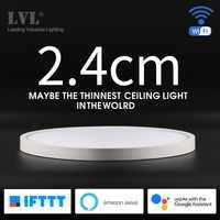 Lámpara de techo de montaje de superficie de Instalación rápida ultrafina con Control de voz de aplicación WiFi y luz de techo inteligente LED moderna