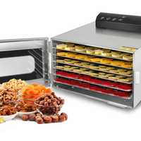 Deshidratador de 6 bandejas para alimentos de 110V y 220V, secador de deshidratación de aperitivos de acero inoxidable, máquina de secado de frutas, verduras, hierbas y carne EU/AU/UK/US