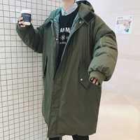 2018 de Corea del invierno hombre moda incluso tapa de algodón acolchado alargan Overknee ropa suelta Casual negro/verde del ejército chaqueta M-XL