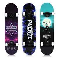 PUENTE ABEC-9 cuatro ruedas patada doble cubierta skate LongBoard snowboard con T-forma Gadget Rueda de la PU arce duro a prueba de golpes a prueba tabla larga