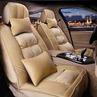 De peluche de lana sintética, asiento cubre Real de piel de accesorios del Interior del coche cojín de invierno elegante de la cubierta de asiento de coche
