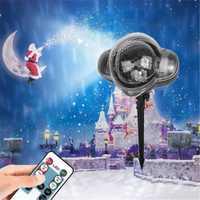 HENYNET iluminación de vacaciones LED impermeable lámpara de láser luces de Navidad copo de nieve lámpara de Nieve Luz de proyector