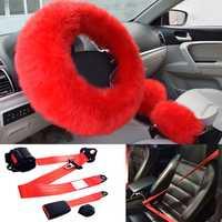4 piezas conjunto rojo Universal peludo gruesa cubierta de volante de mano de freno cubierta conjunto de engranajes + 3 Punto asiento de seguridad cinturón de regazo kit