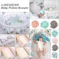 3 metros de bebé recién nacido bebé parachoques cama cojín suave de trenzado larga nudo bola almohada cuna Protector de la habitación de bebé cuna de seguridad parachoques