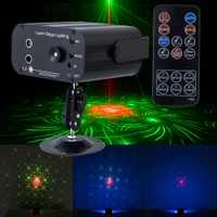 Vacaciones de Navidad suena/control remoto sistema láser Luz RGB led efecto de iluminación de escenario Disco láser proyector luces