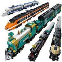 Alimentado por batería de bloque de construcción los trenes DIY modelo ladrillos juguetes educativos para los niños Compatible con Legoings tren