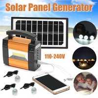 Cargador Solar Panel de almacenamiento generador de energía sistema de iluminación LED cargador USB 3 bombillas LED Cargador Solar potente generador
