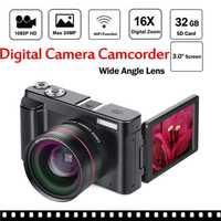Cámara Digital de vídeo videocámara Full HD 1080 p 24.0MP Vlogging cámara con lente gran angular y 32 GB tarjeta SD luz de Flash