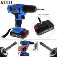 VOTO 21 V destornillador eléctrico con batería de litio y dos-ajuste de la velocidad de botón para el manejo de tornillos/punzonadora