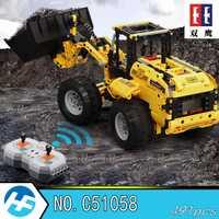 Cargadora de ruedas excavadora coche de control remoto de bloques de construcción ladrillos técnica de la batería de litio de la serie Cada C51058