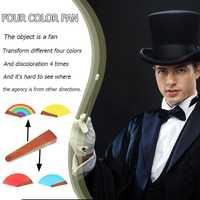 Cuatro colores magia ventilador Color Fan etapa cerca de truco de magia juguetes rendimiento magia accesorios divertido novedad