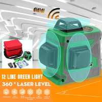 360 Rotary medida 3D 12 Línea Verde de luz láser Nivel Auto nivelación Horizontal y Vertical de la Cruz-nivelación 635nm la estabilidad
