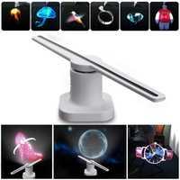 LED 3D holograma proyector holográfico publicidad pantalla ventilador único LED luz publicidad lámpara EE. UU./UE/enchufe