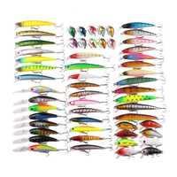 56 unids/set juego de Señuelos de Pesca de Minnow cebo duro señuelo Wobblers carpa lápiz Popper Crankbaits Fly pesca aparejos Accesorios