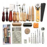 37 piezas de artesanía de cuero Kit de herramientas de coser de mano profesional costura golpe trabajo de talla silla Leathercraft conjunto